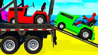 Download FUN COLOR CARS Transportation - Spiderman Cartoon for Kids w Colors for Toddlers Nursery Rhymes 3Gp Mp4