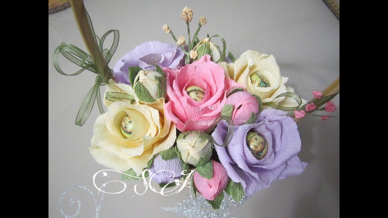 Букет из конфет с розами своими руками пошаговое фото