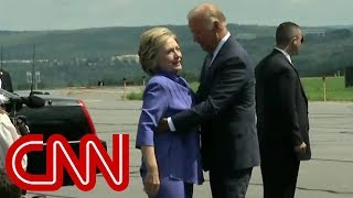 Watch Joe Biden give an endless hug to Hillary Clinton