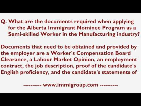 Documents required for the AINP as a Semi-skilled Worker in the Manufacturing industry