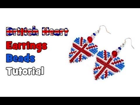 """Прокомментировать запись  """"Серьги сердечки в стиле Британский флаг """". сердечки сплетенные из бисера..."""