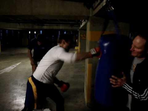Otago Cricket star James McMillan smashing the boxing bag