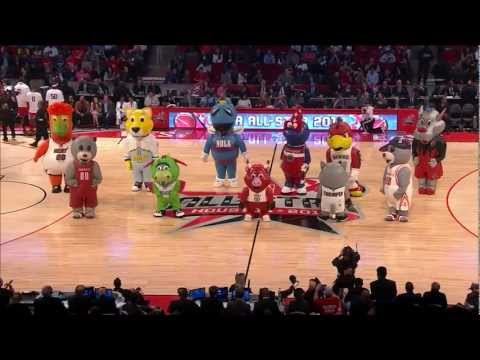 NBA Mascots Inflatables dancing at 2013 NBA All-Star Game