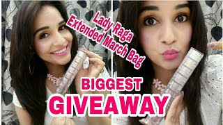 BIGGEST GIVEAWAY 16K+ & Unboxing of *New*Lady Raga Extended March 2018 Bag | Maybelline