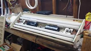 Litecontrol 4 Foot, 4 Lamp 1940s Fluorescent Light Fixture Pre-Restore