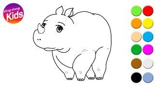 Cute Rhinoceros animal drawing toddler books | rhino for kids