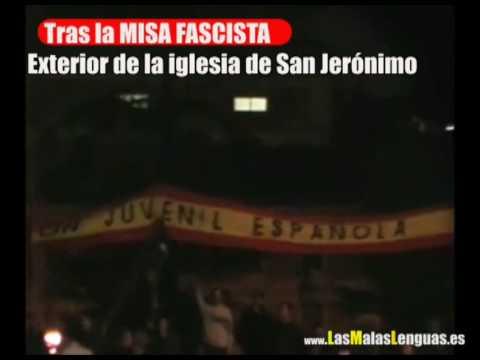 Misa terrorista  fascista con besos a la bandera franquista en la Iglesia de los Jerónimos, Madrid