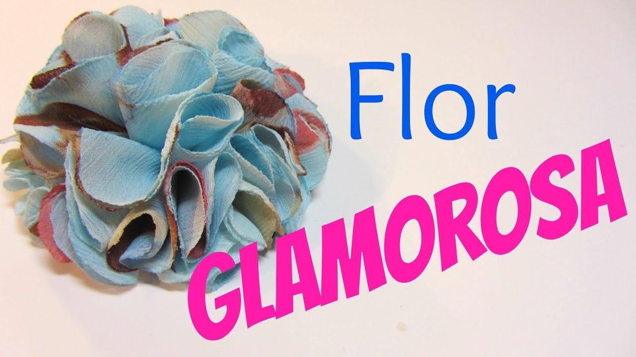 Como hacer una flor glamorosa de tela glamorous flower - Como hacer cuadros de tela ...