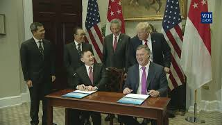 President Trump Conducts a Signing Ceremony with Prime Minister Lee Hsien Loong