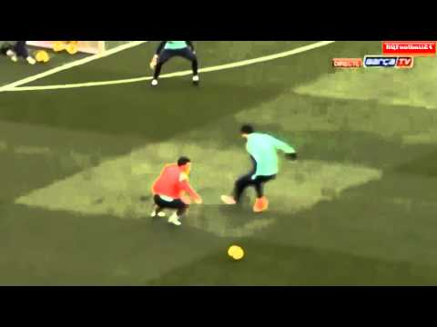 Cesc Fabregas Amazing Goal at Barcelona Open Training Session 2014