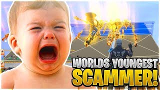 The Worlds Youngest Scammer Ever Scams Himself! (Scammer Get Scammed) Fortnite Save The World