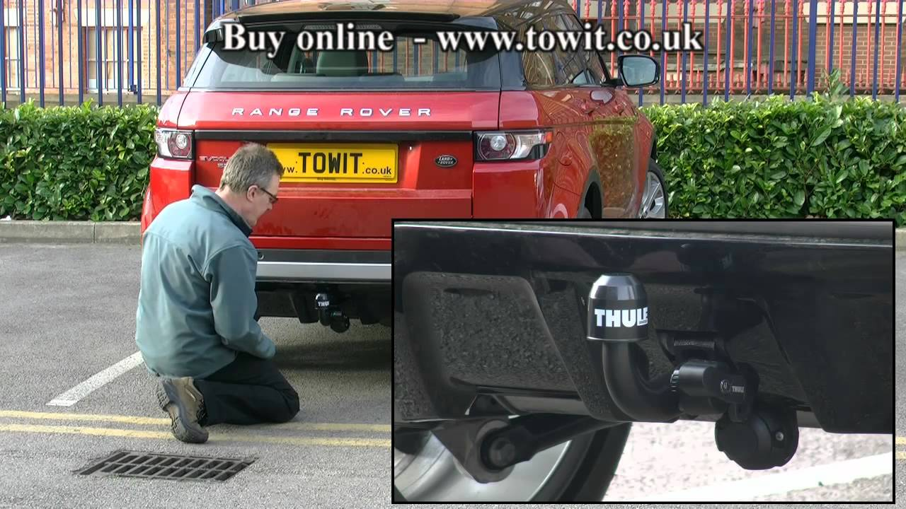 land rover evoque thule detachable towbar youtube. Black Bedroom Furniture Sets. Home Design Ideas