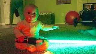 BABY'S FIRST LIGHTSABER BATTLE!