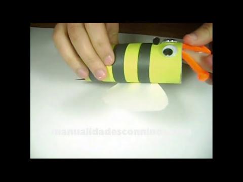 Como hacer una abejita con un tubo de papel de baño