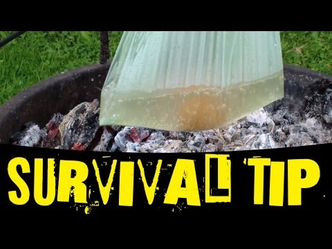 Survival Tip -  Boiling water in a plastic bag