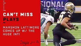 Marshon Lattimore Comes Up w/ The HUGE INT!!!