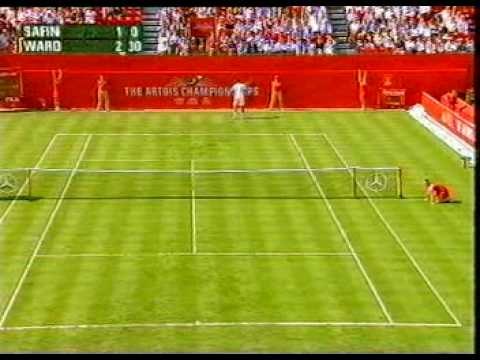 Uk tennis player James Ward plays Marat Safin at Queens Club in 2008.