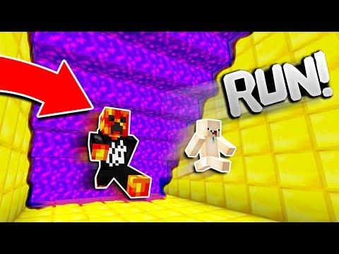 Minecraft RUN FROM THE PURPLE LAVA! (Minecraft SUPER LAVA RUN)