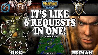 Grubby | Warcraft 3 TFT | 1.30 | ORC v HU on Terenas Stand - It's like 6 requests in one!