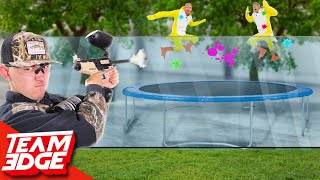 Trampoline Duck Hunt Challenge!! | Painful Paintball Edition!!