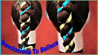 Peinado Para Niña: Trenza De 4 Con listones, Para Escuela/Hairstyle for girls: 4 With Braid strips