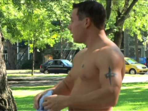 Shirtless Muscle Dude Rollerblades