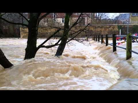 Freshford Mill near Bath UK. Floods Jan 2014 2nd video of 3