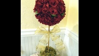Make A Topiary Tree With Ribbon Roses