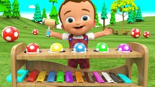 Little Baby Learning Colors for Children with Wooden Hammer SoccerBalls Xylophone Toy Set 3D Kids