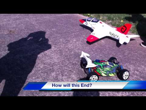 T-45 GosHawk RC Plane vs RC Buggy Car - Hobby King Ducked Fan vs Car