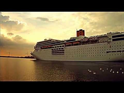 Cruiseship ''Costa NeoRomantica'' leaving the Netherlands