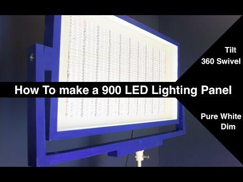 Dimmable/Tiltable/Swivelable 900 LED Light Panel (72Watt) // How to //DIY