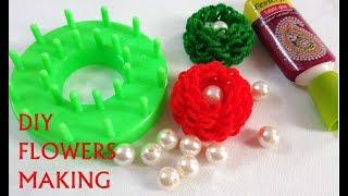 How To Make Quick Woolen Flowers Using Stencil // Woolen Marigold Flower Making Tutorial