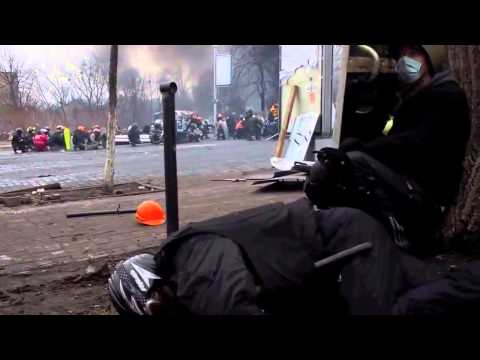 Revolution in Ukraine. How President Yanukovich's riot police snipers shoot civil protesters dead.