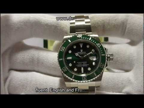 Rolex 116610LV submariner date green dial and bezel hands on