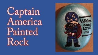 Captain America Painted Rock | Rock Painting Ideas | Kindness Rocks | Time Lapse Painting