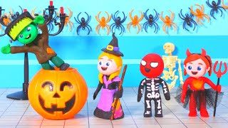 FUNNY KIDS MAKE A HALLOWEEN PARTY ❤ Play Doh Cartoons For Kids