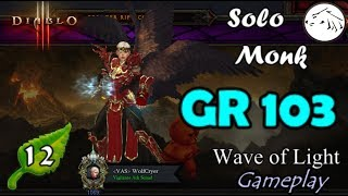 Diablo 3 Solo Monk GR 103 Gameplay with Rift and Gear Analysis SWK Wave of Light build