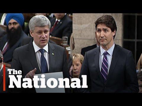 Stephen Harper, Justin Trudeau face off over niqab debate
