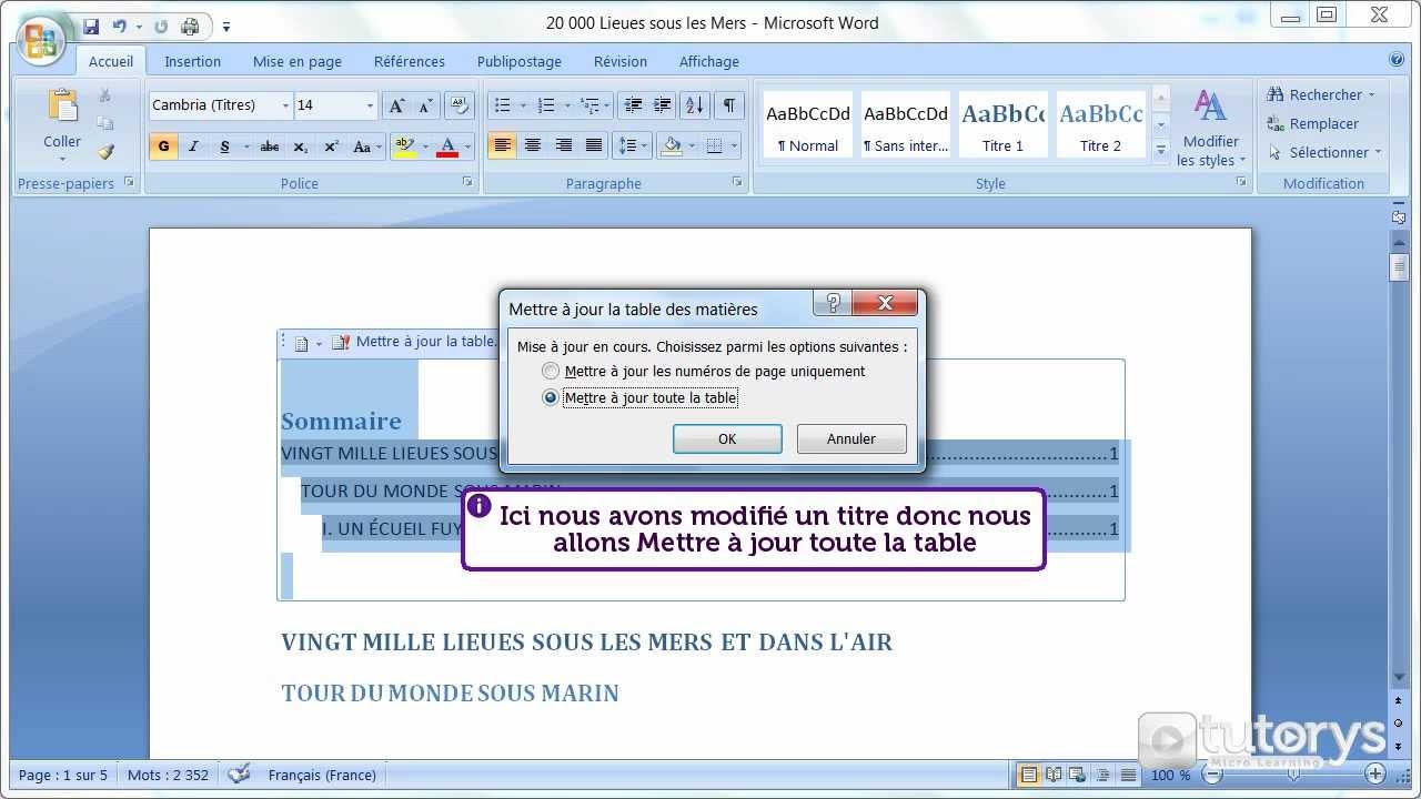comment ins u00e9rer une table des mati u00e8res automatique avec word 2007