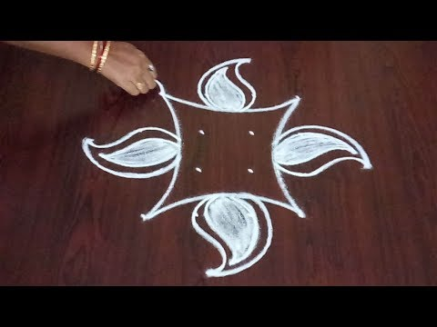 Mango Kolam 4 x 4 || Simple Mango Rangoli  With Lotus Flowers || Fashion World & Rangoli