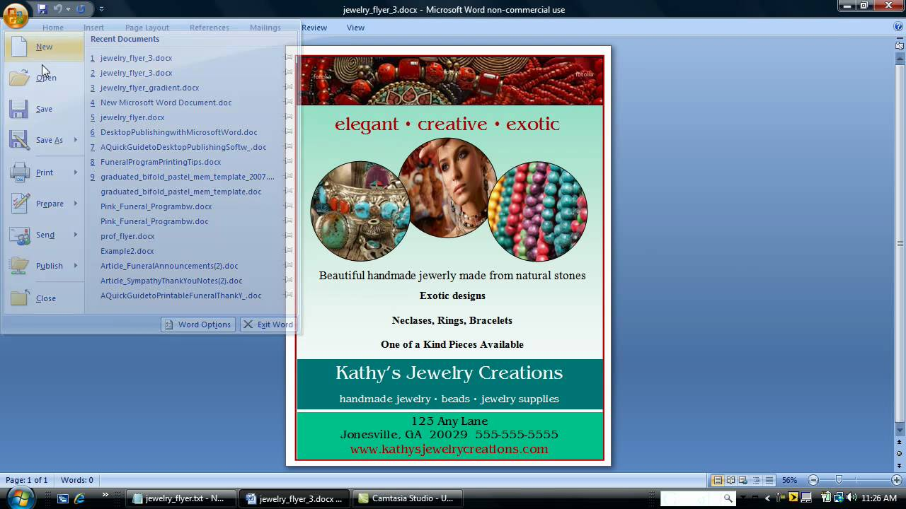 make a flyer using word