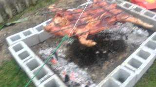 Cooking pork Asando lechon  new years 2014 part 2
