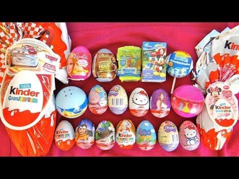 20 Surprise Eggs Unboxing Kinder Maxi. The Smurfs. Cars. Dora. Peppa Pig. Barbie