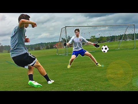 Soccer goal scored by goalie