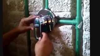 Colocacion monomando con termofusion parte 1 viyoutube for Como arreglar las llaves dela regadera