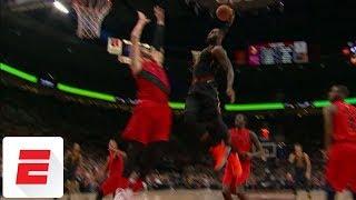 LeBron James throws down epic dunk on Jusuf Nurkic   ESPN
