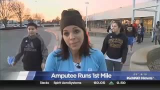 Woman runs a mile after losing leg