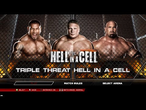 Wwe 2k14: Goldberg Vs Batista Vs Brock Lesnar - Hell In A Cell [hd] video