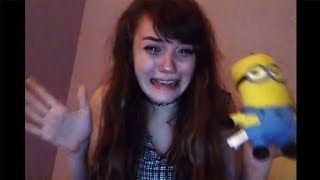 this girl is really terrified of minions..